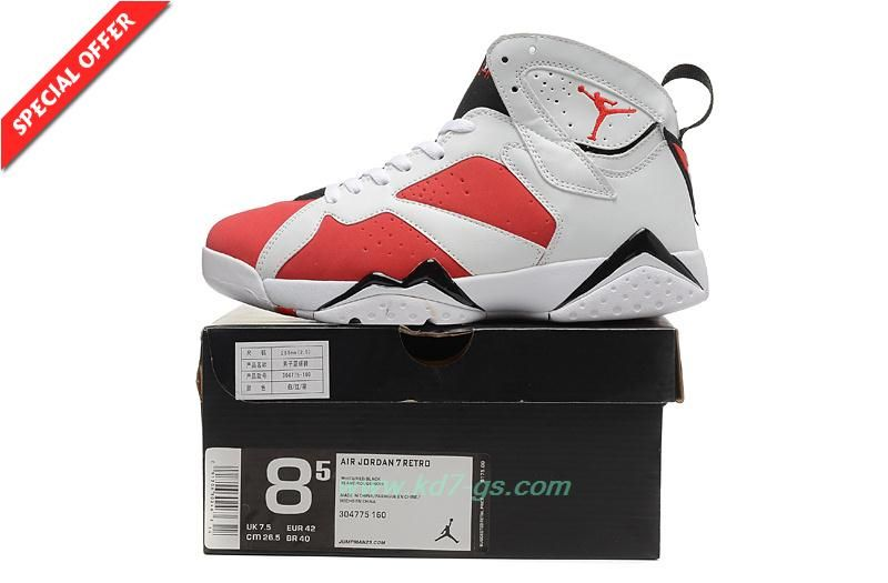 43dc057507a5 New Mens White Red AIR JORDAN 7 RETRO 304775-160 Basketball Shoes Online