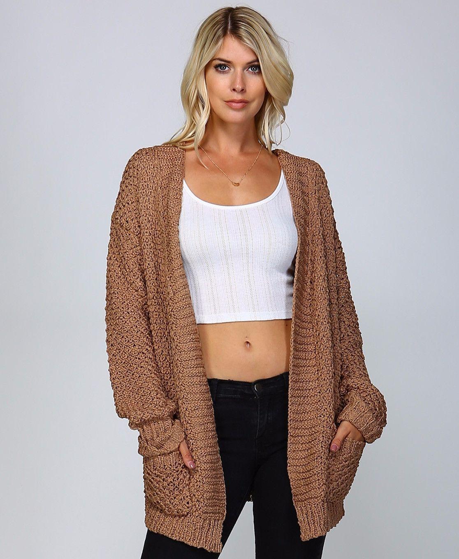Very Camel Crochet Oversized Open Cardigan - M/L / Brown | Open ...