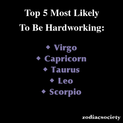 zodiac signs top 5 most likely to be hardworking personal