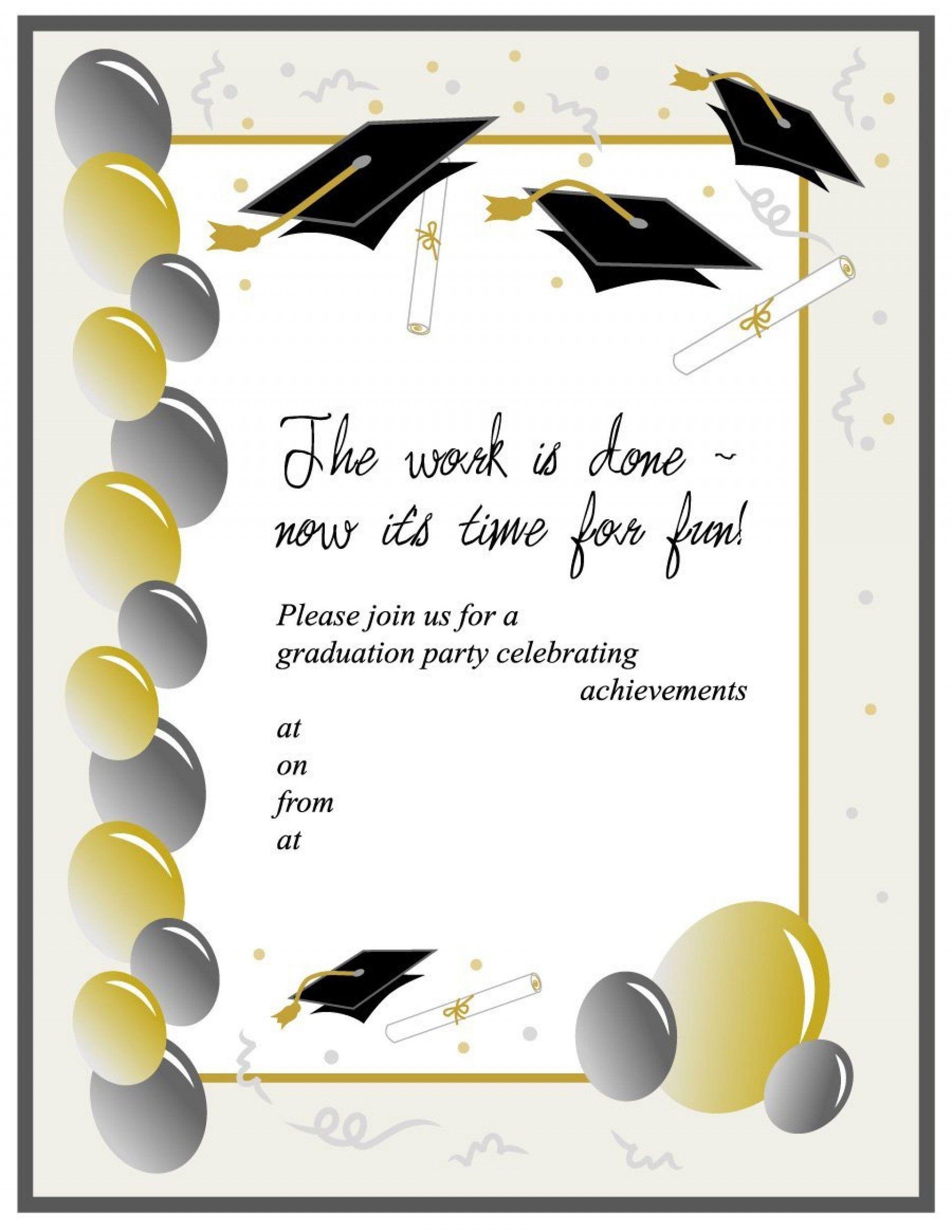Kindergarten Graduation Invitation Template Free Unique 011 Templa Graduation Invitations Template Graduation Party Invitations Templates Party Invite Template