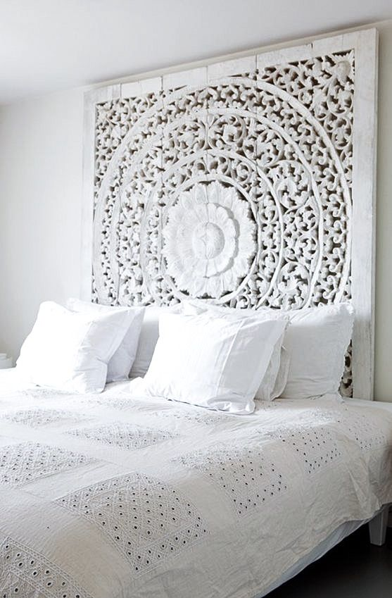 wooden moroccan style headboard bedroom inspiration via bo bedre norway by monica norrby - Moroccan Bed Frame