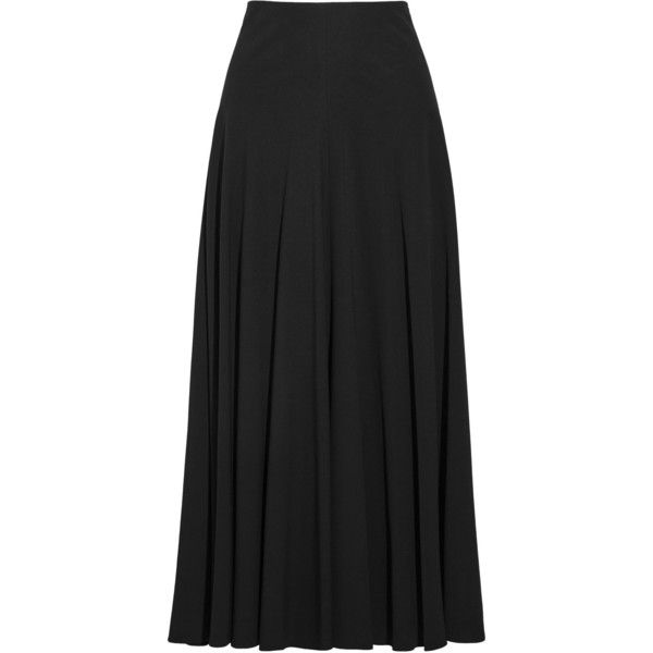 The Row Dia pleated stretch-cady maxi skirt (13 640 SEK) ❤ liked on Polyvore featuring skirts, black, pleated skirt, elastic skirt, panel skirt, long skirts and floor length skirt