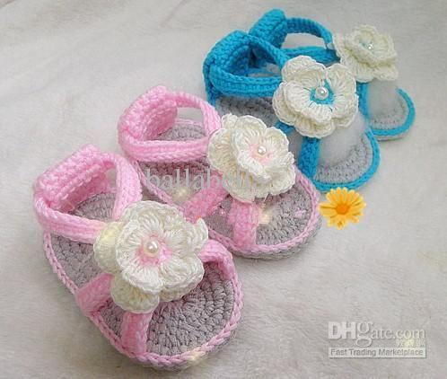 Summer Baby Sandal Shoes Baby Boy Girl Crochet Shoes Flower Ties Toddler Shoe  Children Baby Infant