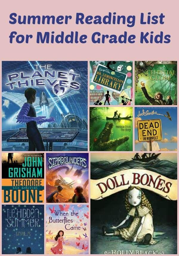Summer Reading List for Middle Grade Kids is part of Summer reading lists, Summer reading, Kids reading, Middle school books, Homeschool reading, Books for boys - Check out this great summer reading list for kids in middle grades  They'll be excited about reading all summer long!