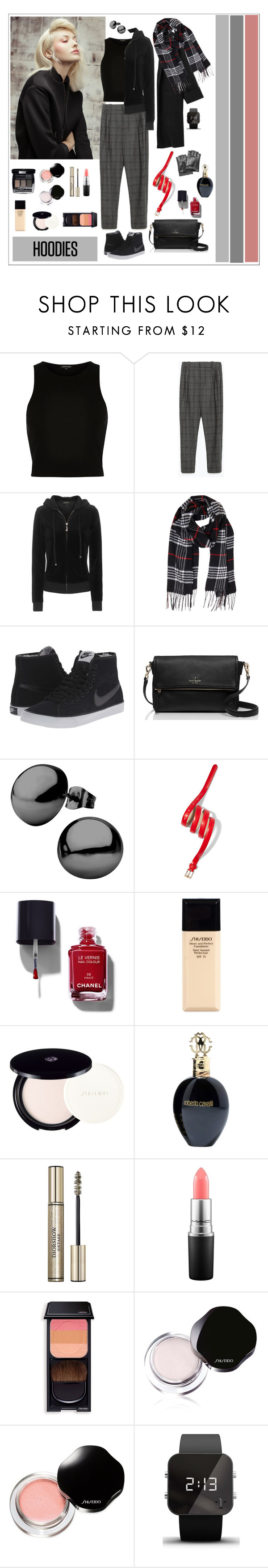 """""""No for hoodies, yes for layers"""" by rara-nataliya ❤ liked on Polyvore featuring River Island, Zara, Juicy Couture, Humble Chic, NIKE, Kate Spade, New York & Company, Chanel, Shiseido and Roberto Cavalli"""