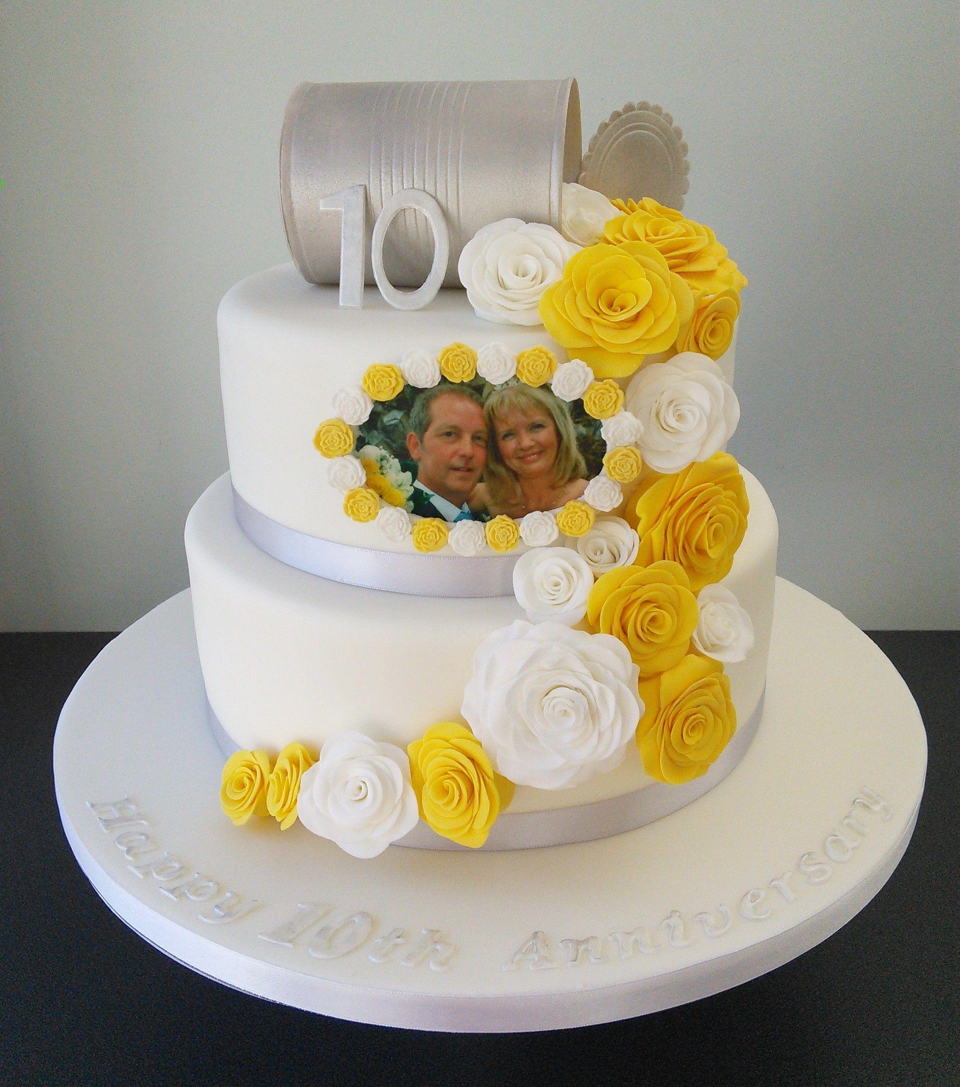 Tin Anniversary cake, 10 years. yellow and white roses, edible photo ...
