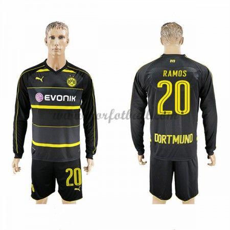 Billige Fotballdrakter BVB Borussia Dortmund 2016-17 Ramos 20 Borte Draktsett Langermet