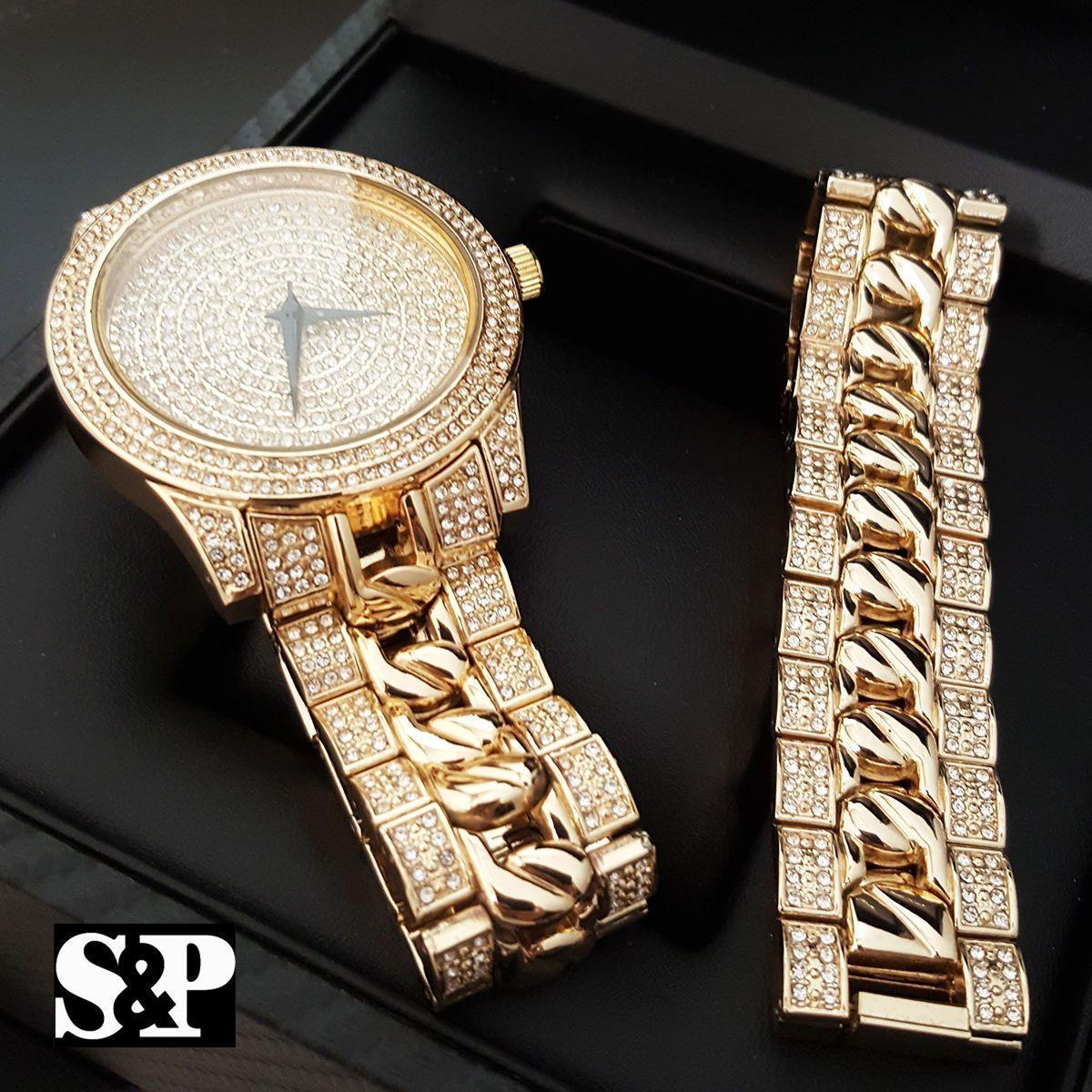 Men iced out hip hop rappers urban lab diamonds watch u bracelet