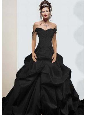 Black Off The Shoulder Simple Gothic Wedding Dress