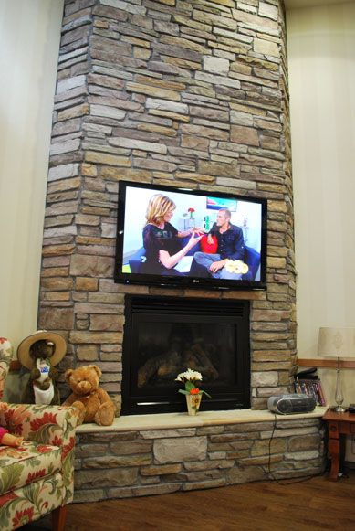 Stackstone Fireplaces Stacked Stone Fireplace With Tv