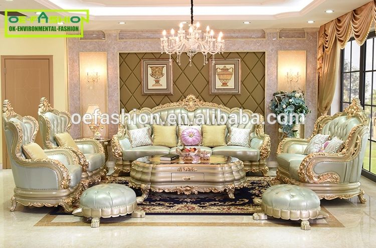 gold leather sofa set and chair covers luxury hand carved solid wooden light blue dubai furniture view oe fashion product details from foshan