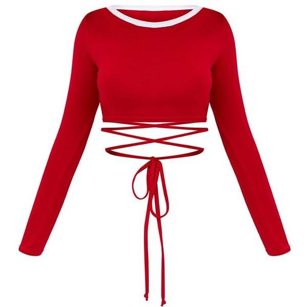 8f6d9b9a60d73f Red Longsleeve Harness Detail Crop Top ($10) ❤ liked on Polyvore featuring  tops, red top, long-sleeve crop tops, white top, cut-out crop tops and  harness ...