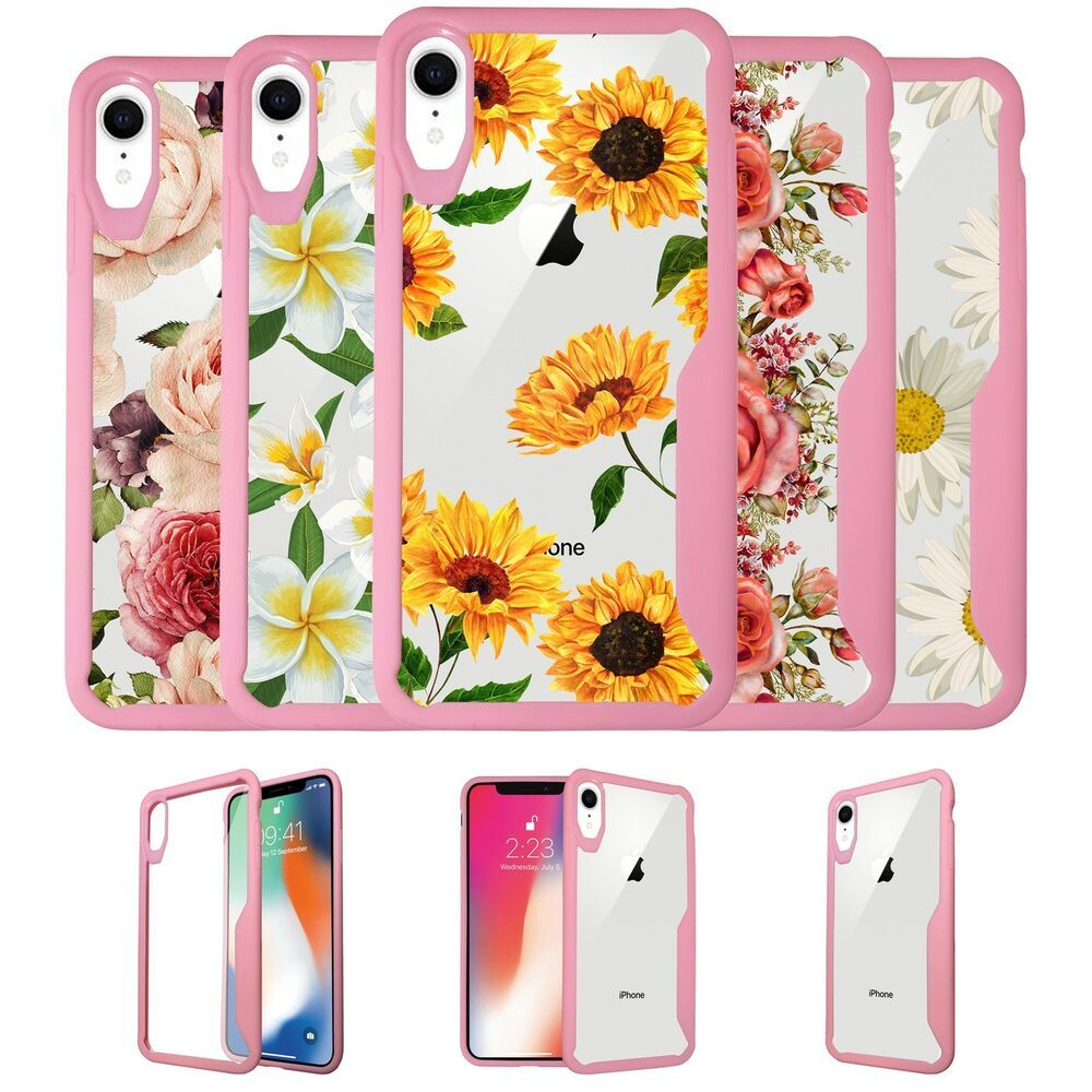 For apple iphone xr 2018 clear tpu case with pink silicone