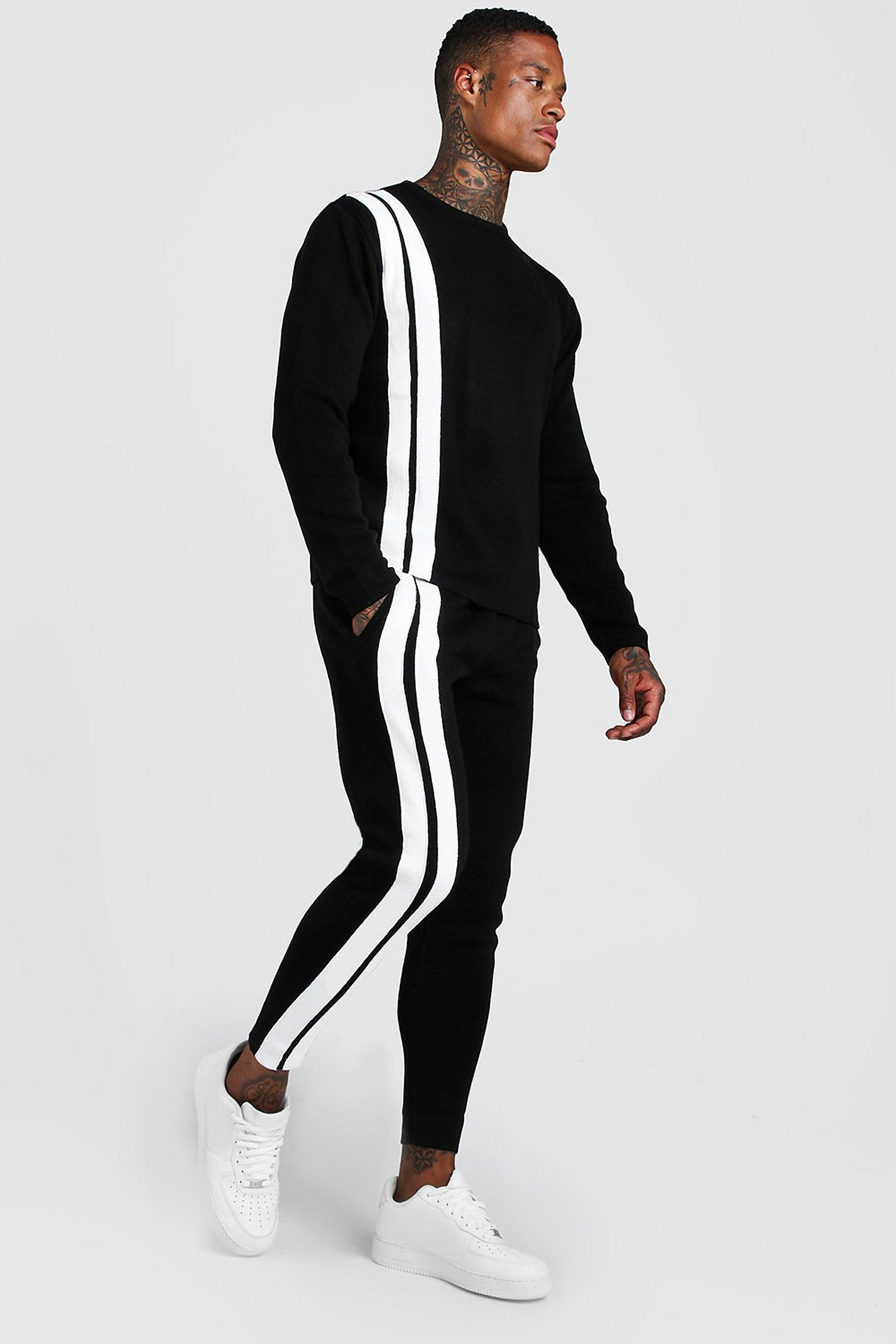 Men S Regular Knitted Sweater Jogger Stripe Set Boohoo Streetwear Men Outfits Mens Outfits Mens Casual Outfits [ 3272 x 2181 Pixel ]