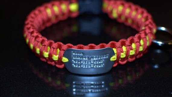 Paracord Dog Collar with engraved Dog Tag by BlackdogParacord, $30.00