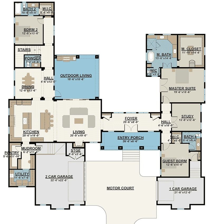 Plan 430008ly courtyard entry 4 bed house plan with for Upstairs plans
