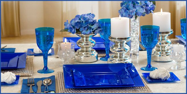 Our collection of Royal Blue Premium Tableware sets the foundation for an elegant holiday party & Our collection of Royal Blue Premium Tableware sets the foundation ...