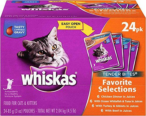 Whiskas Tender Bites Favorite Selections Variety Pack Wet Cat Food 3 Ounces Pack Of 24 You Can Find Out More Details Cat Food Wet Cat Food Cat Food Allergy