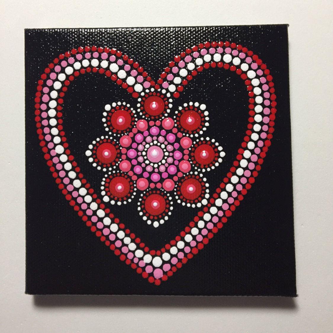 Hand Painted Mandala On Canvas Valentines Day Dot Art