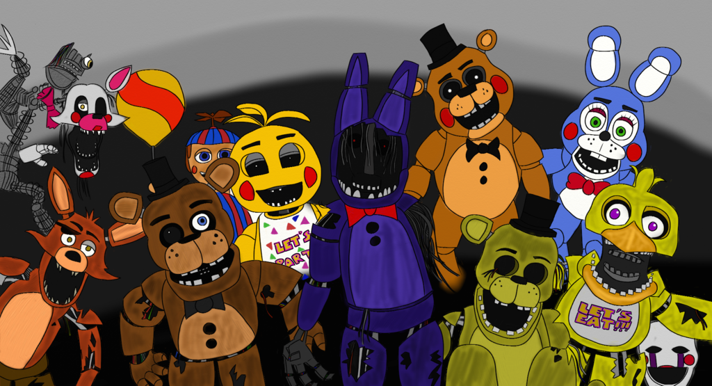 Five Nights At Freddy S 2 Animatronics By Lanotic D86xmj5 Png 1024 555 Five Nights At Freddy S Happy Birthday John Freddy Toys
