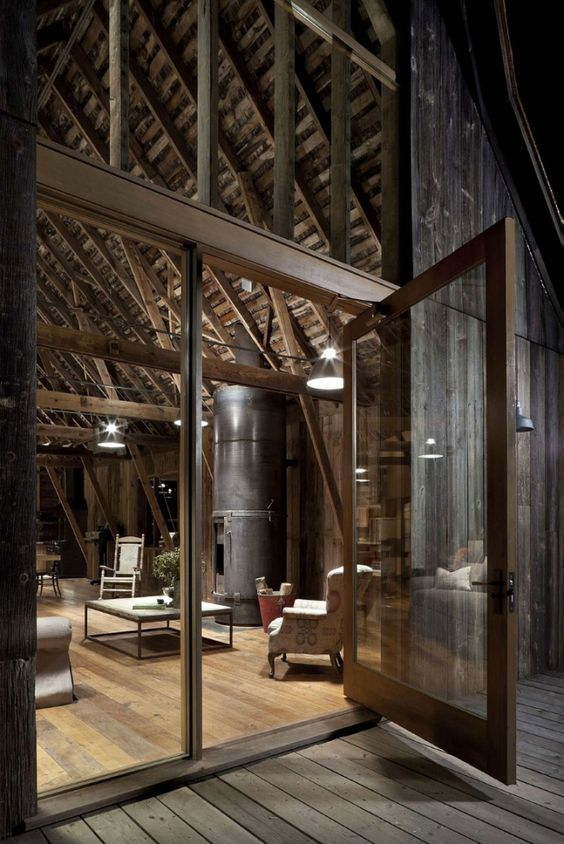 R novation d 39 une vieille ferme avec un style industriel chemin es fireplaces fire pits - Restauration meuble industriel ...