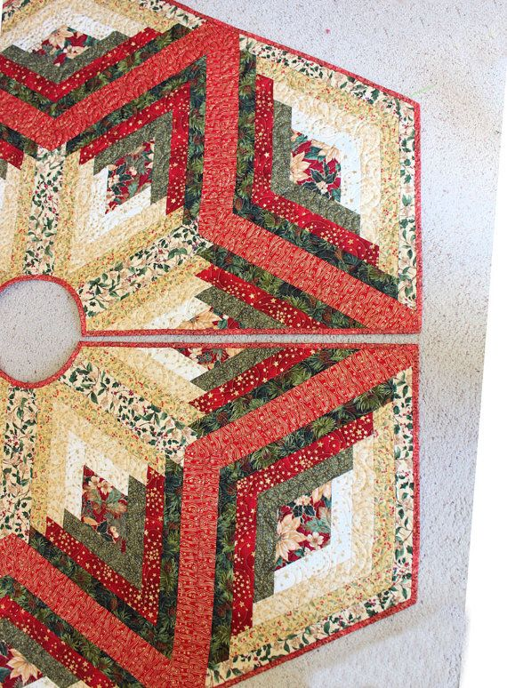 Log Cabin Christmas Tree Quilt.Large Christmas Tree Skirt Diamond Log Cabin Quilt In Reds