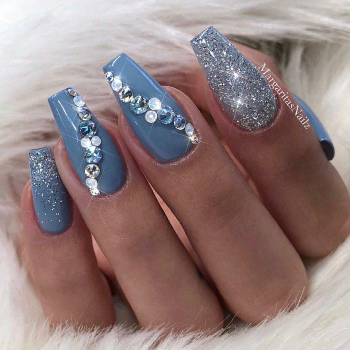 Glitter Nails Nails With Rhinestones Ballerina Nails Blue Nails Acrylic Nails Blue Coffin Nails Rhinestone Nails Nails Design With Rhinestones