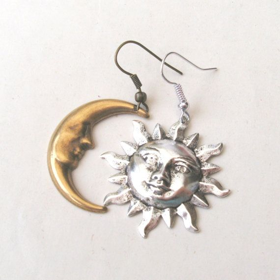 443f15ee Mismatched Earrings, Sun and Moon Earrings, Drop Earrings, Silver ...