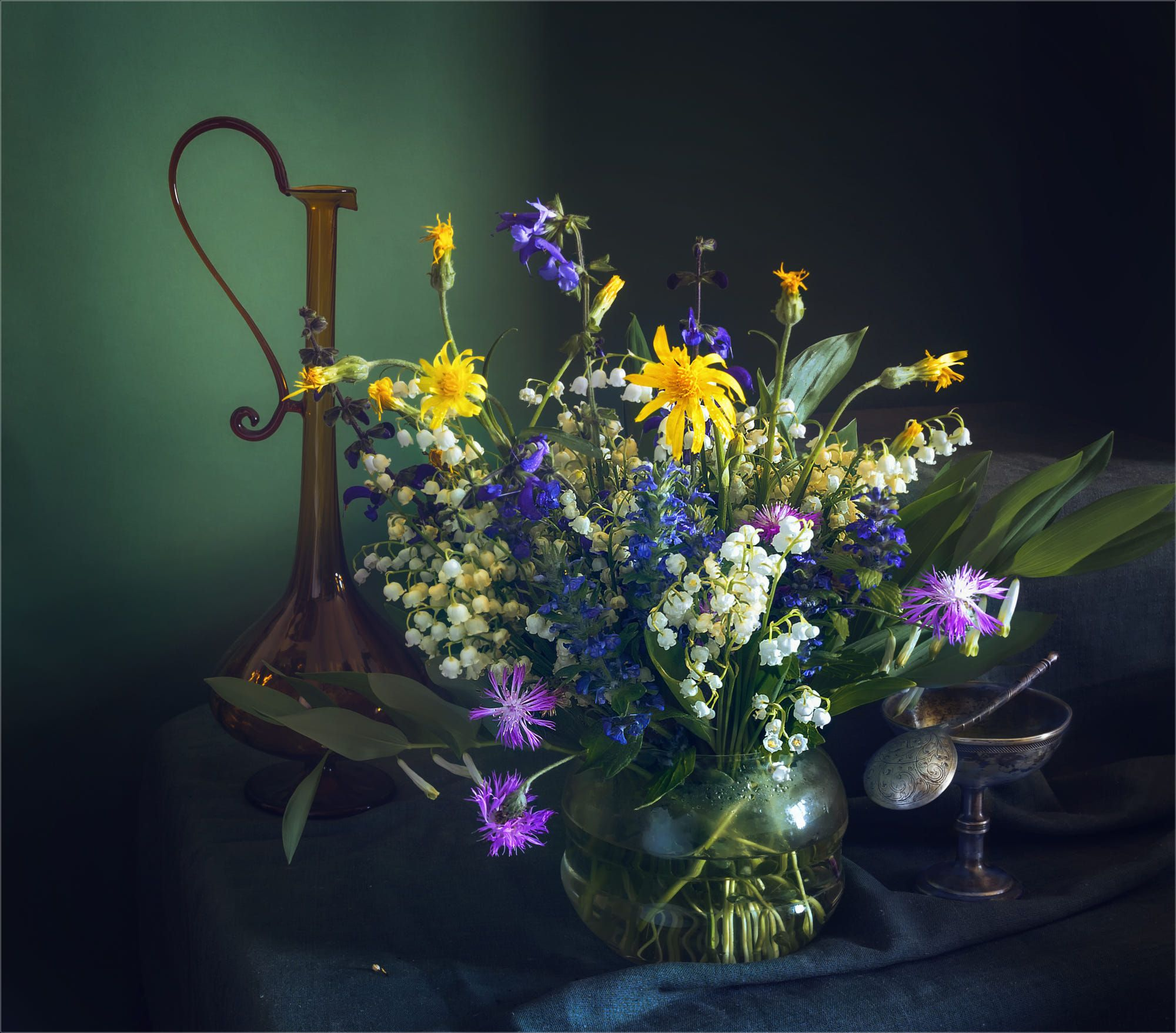 Still Life With A Spring Bouquet By Mykhailo Sherman On