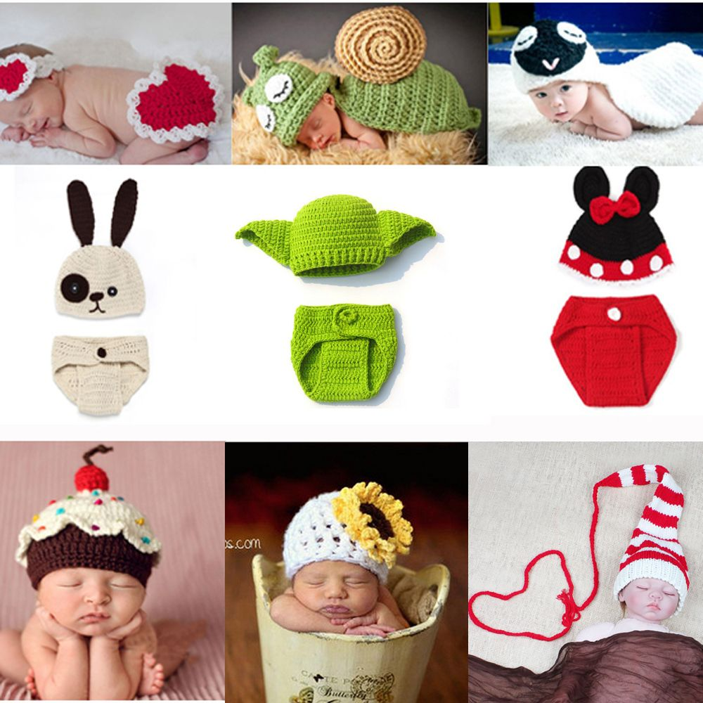 Newborn Clothes Crochet Baby Boy Girl Knit Costume Photography Props Outfit  Animal Style Baby Beanies Hat SG048 d22d7ba367b0