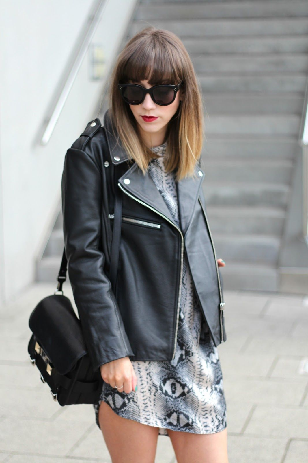 a7f7174e56 The Lovecats Inc: TODAY: The Snake Print Dress - leather jacket - proenza  schouler PS11 - celine sunglasses - street style