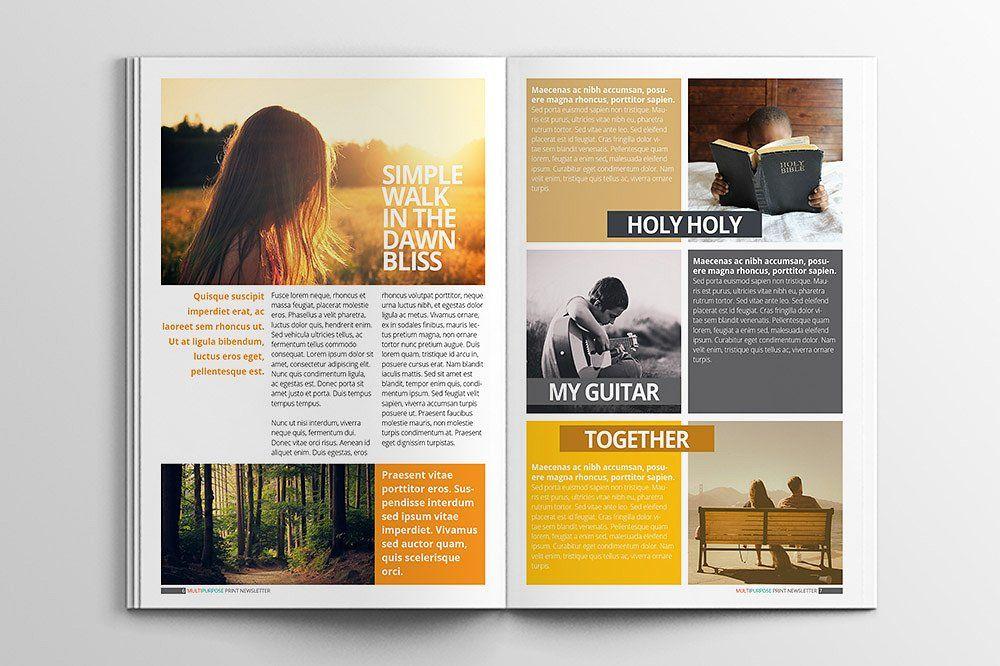 Multipurpose Print Newsletter Magazines Layouty Pinterest - Print newsletter templates