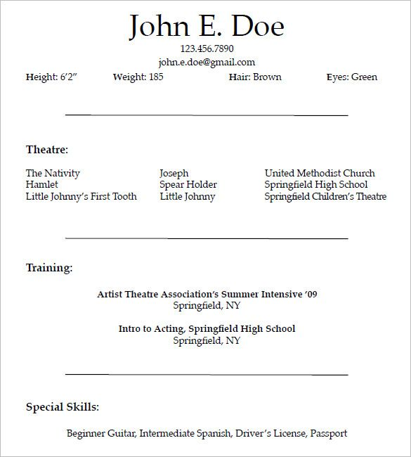 Acting Resume Template for Free , How to Create a Good Acting Resume