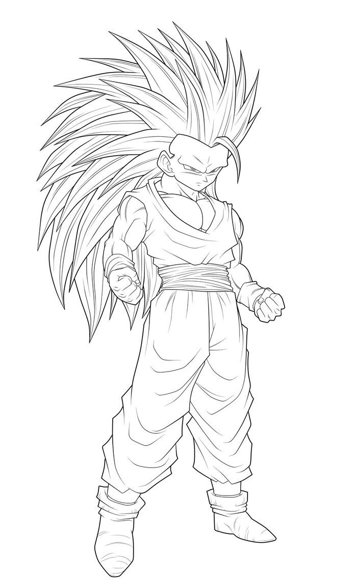 Dbz Drawings Ssj3 T Gohan Thick Lineart By Moxie2d Dragon
