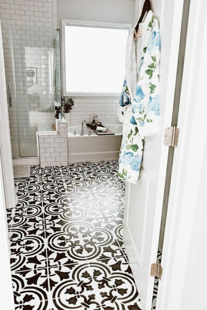 Diy Before And After Easy Bathroom Floor Makeover Idea In 2020 Diy Painted Floors Painting Tile Floor Makeover