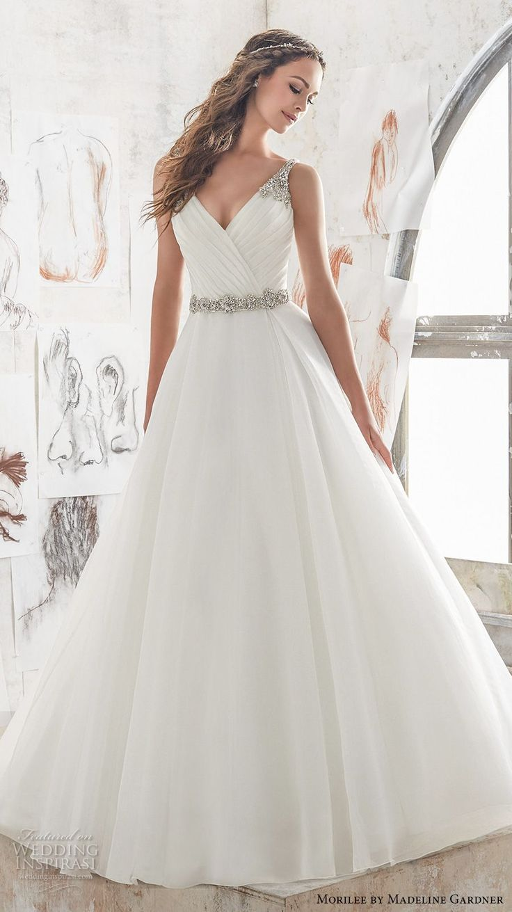 Morilee spring bridal sleeveless embroidered strap wrap over