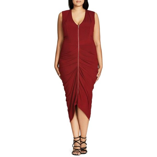 City Chic Drape Pleat Midi Dress ($99) ❤ liked on Polyvore featuring plus size women's fashion, plus size clothing, plus size dresses, deep wine, plus size, draped dresses, plus size red dress, wine dress and plus size cocktail dresses