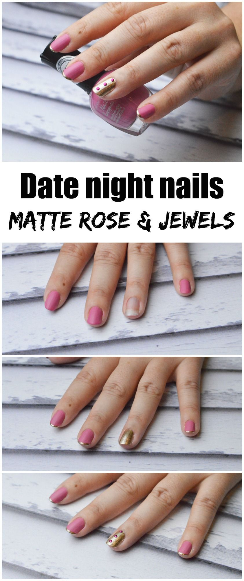 Date Night Nails Matte Rose And Jewels Nail Design Pinterest