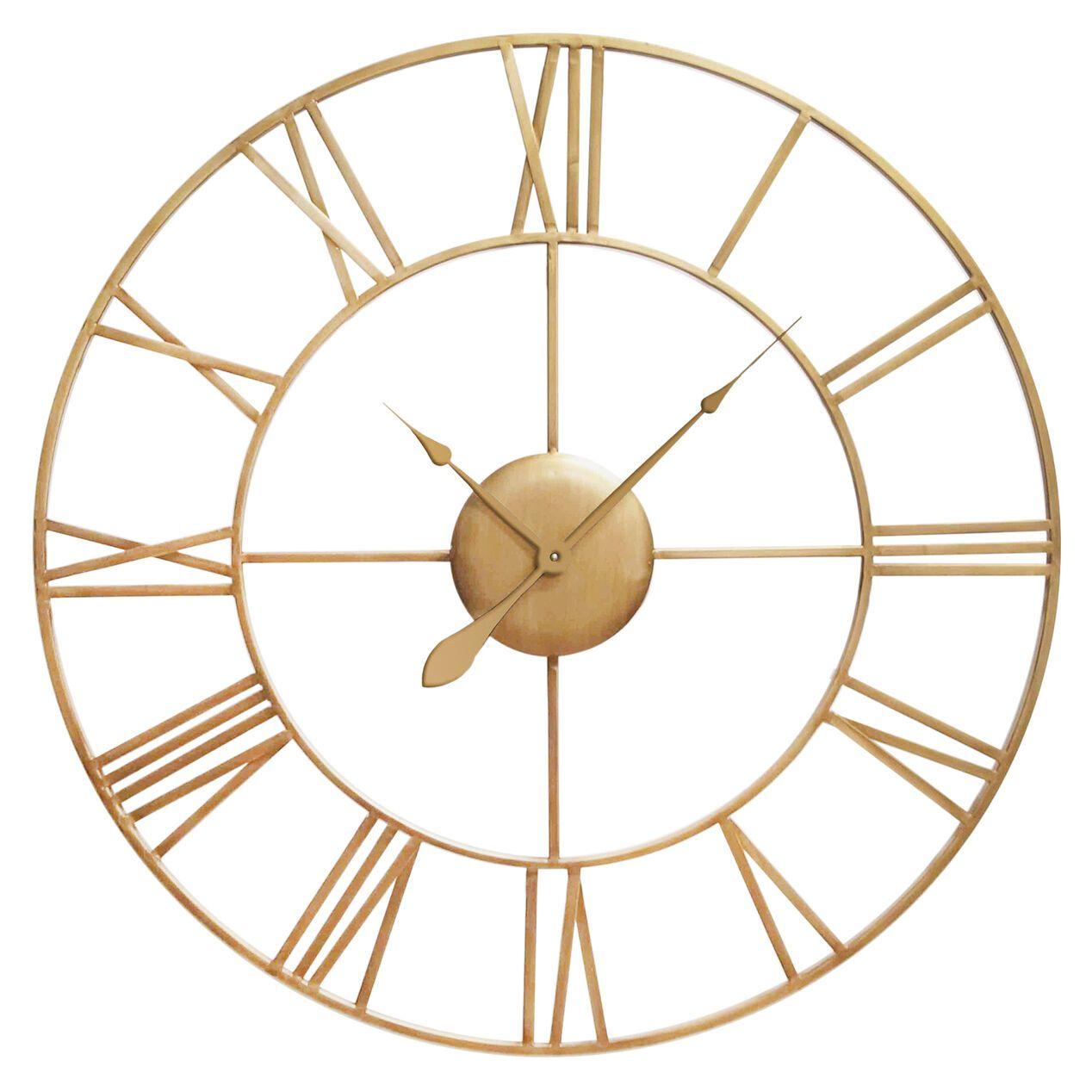 Hampton Brass Metal Wall Clock 41 At Home Metal Clock Wall Clock Wall Clocks Living Room Large gold wall clock