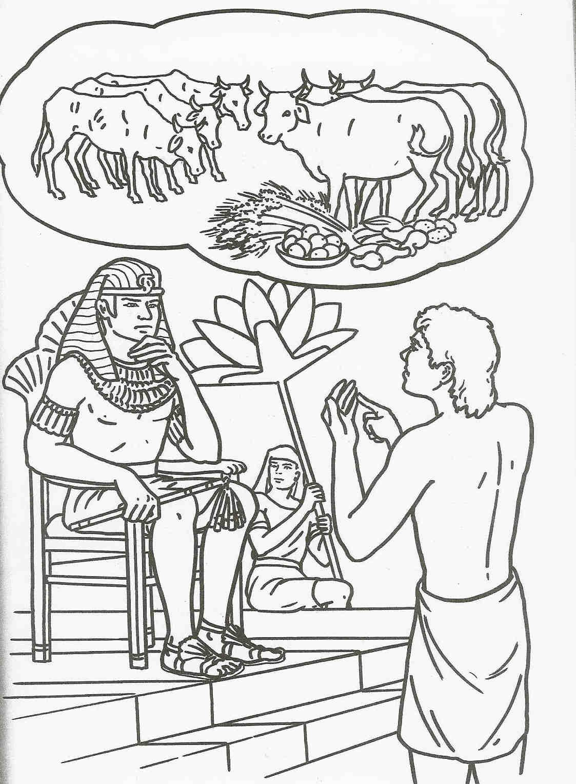 Joseph Gave The Interpretation Of Pharaohs Prophetic Dream Saving His Family And Many Others From Famine To Come Bible Coloring Page