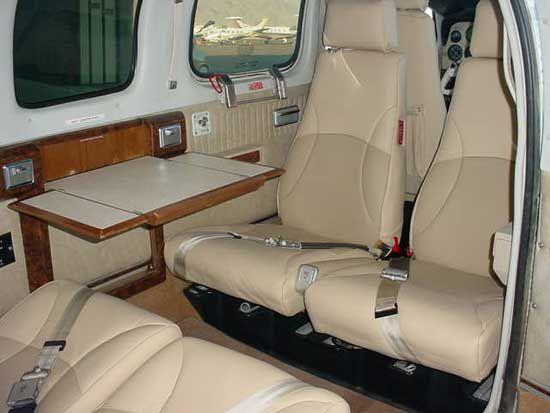 Interior of Papa Hiller's Beechcraft Bonanza  Bluebird's interior is