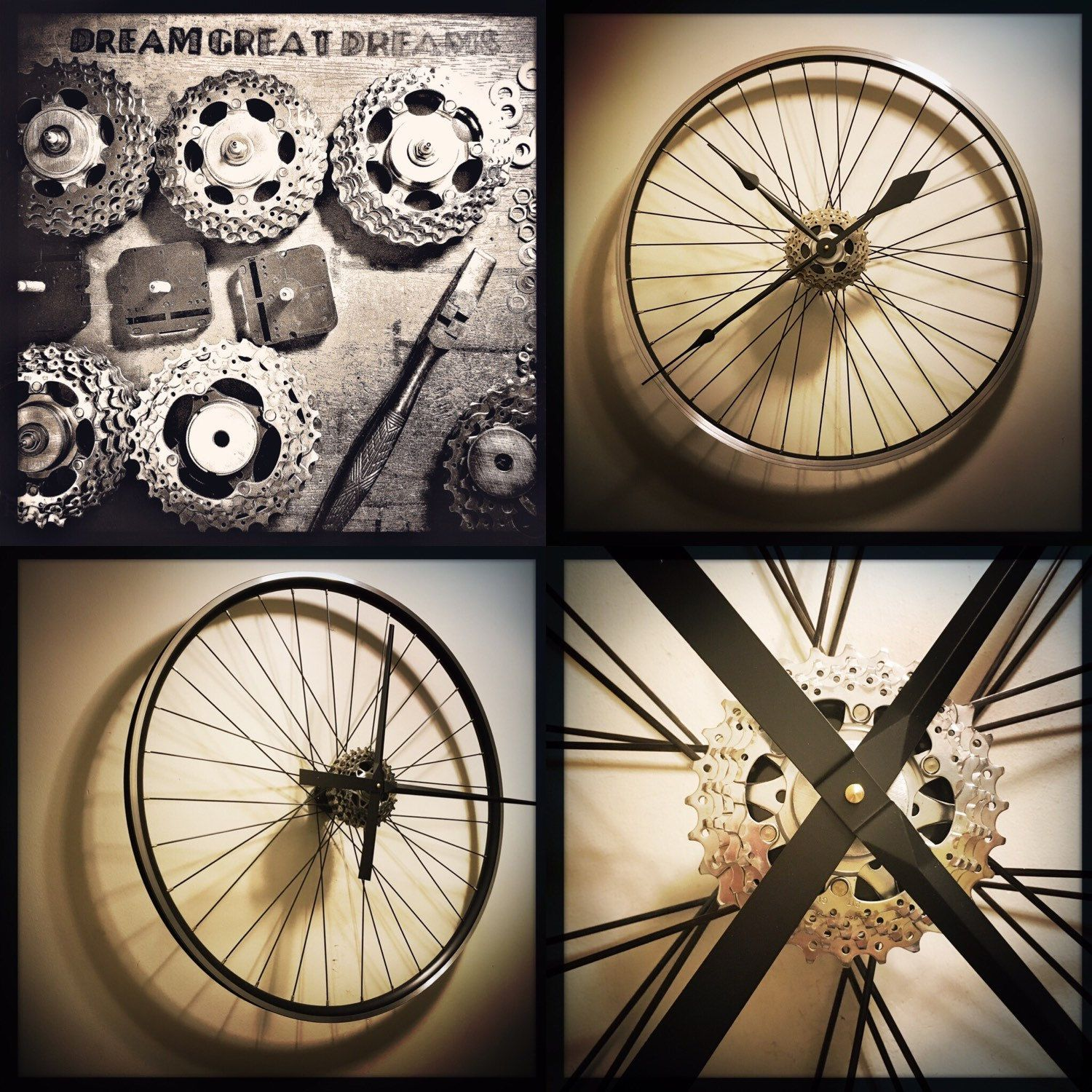 Bike Wheel Clock Unique Gift For Men Steampunk Decor Industrial Wall Art Bicycle Parts Wall Clock Bike Art