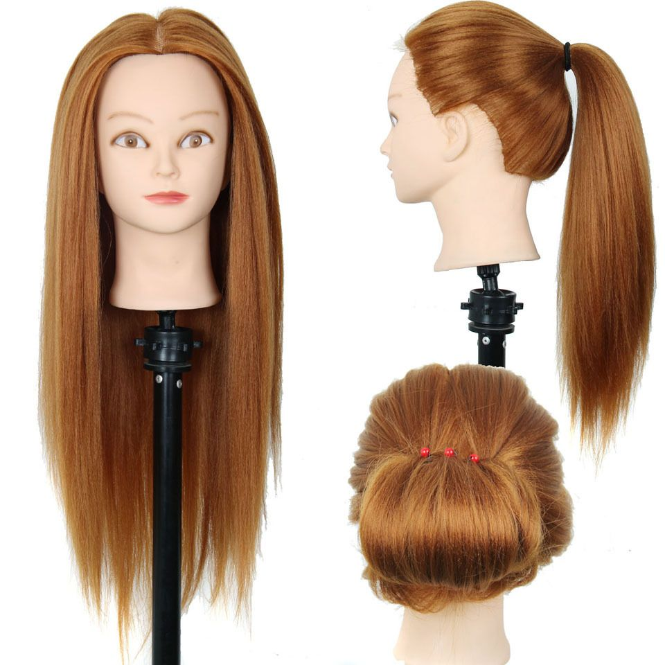 24 Mannequin Head Hair Yaki Synthetic Maniqui Hairdressing Doll Heads Cosmetology Women Hairdresser
