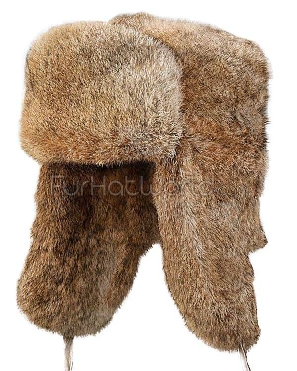 Brown Rabbit Fur Russian Ushanka Hat for Men  2735d1cdbca