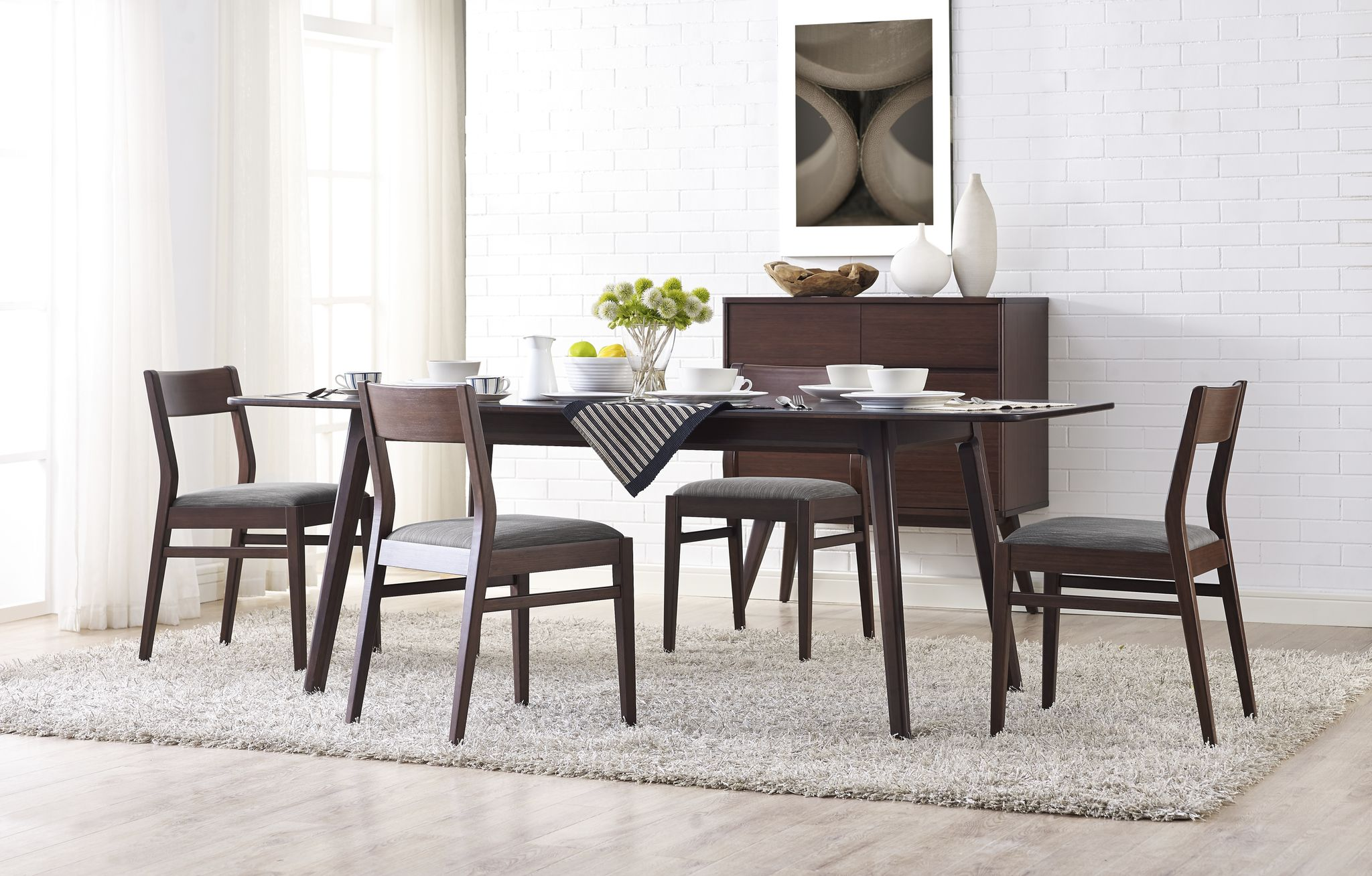 Ambre Extendable Dining Table Showcasing Beautiful Solid Bamboo Grain The Ambre Dining Table Features Dining Chairs Dining Chair Set Extendable Dining Table