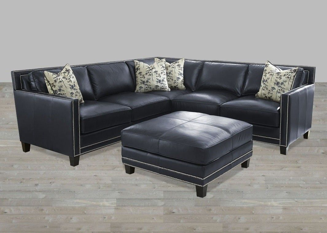 Sectional Blue Silver Nailheads Top Grain Leather Ottoman Blue
