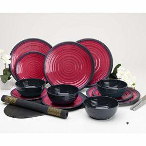 1 de chaque couleur bols et couverts 2 X 26 Pièces Picnic Set de 4 assiettes tasses