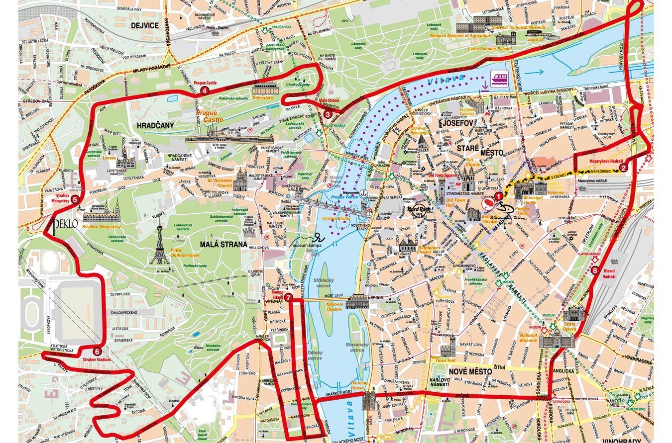 Map Hop On Hop Off Bus Prague Boat Prague Tours Prague City Prague
