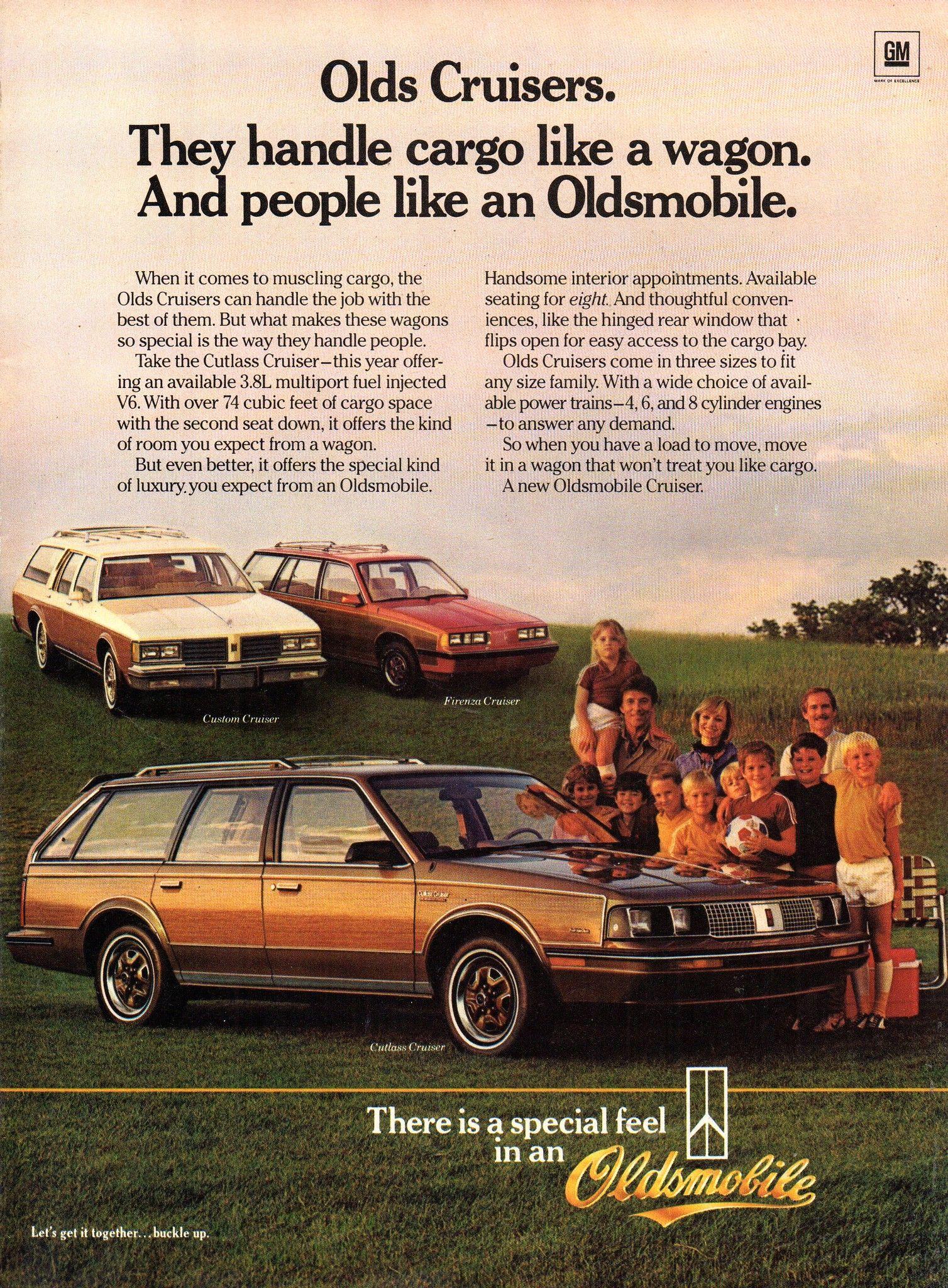 1985 Oldsmobile Cutlass Cruiser Furenza Cruiser Custom Cruiser Wagons Usa Original Magazine Advertisement Oldsmobile Wagons Station Wagon