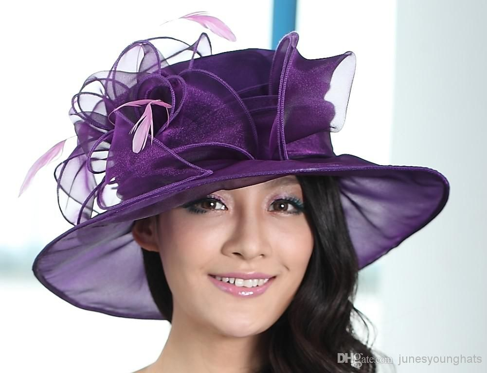 New Arrival Women Hat Organza Wedding Dress Hat Church Hat Samlll Brim  Feather Pink Purple Colors Available Online with  24.72 Piece on  Junesyounghats s ... 6a5df36084